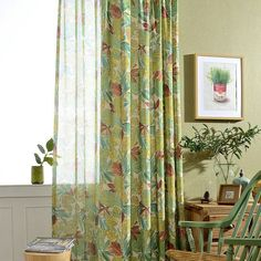 Window Curtain Living Room Modern Home Goods Window Treatments Fraux Linen Printed Curtains For Bedroom Cortinas Para Sala 30 Dining Room Curtains, Curtains Living, Living Room Windows, New Living Room, Window Curtains, Rideaux Design, Luxury Curtains, Printed Curtains, Green Curtains