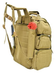 This Range Backpack is strong enough to carry up to 9 pistols around 36 mag clips.It is made of Heavy duty polyester 1200 D, it has two main padded zippered com