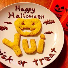 Happy Halloween♫ ひょうたんみたいな形の大きい南瓜を使ったよ。ほんのり甘くて美味しいー*\(^o^)/*ユイさんペロリ♡ - 45件のもぐもぐ - かぼちゃのクッキー♫ by Nao