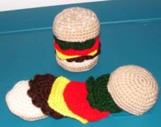 I searched and searched for a crochet cheeseburger pattern to go with the play food set that I am crochet-ing. But I just wasn't happy with the free patterns that I found. I did find a cute…