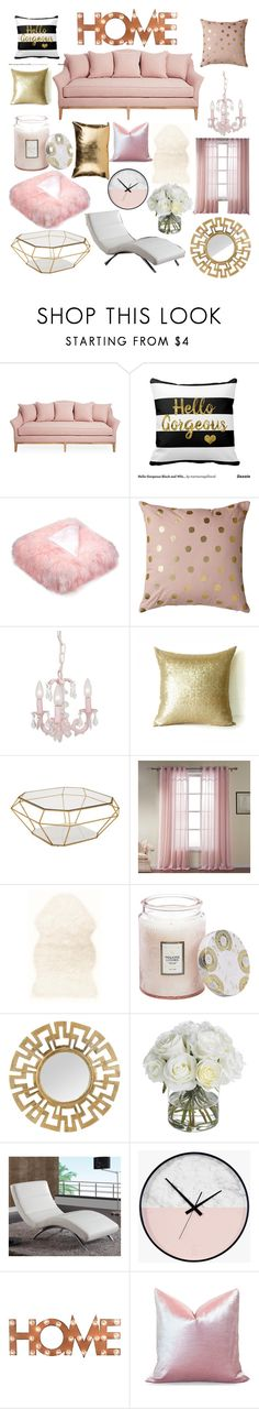 """home is where the pink is 💖👐"" by mariahharron ❤ liked on Polyvore featuring Bloomingville, Eichholtz, Voluspa, Diane James and Dot & Bo"