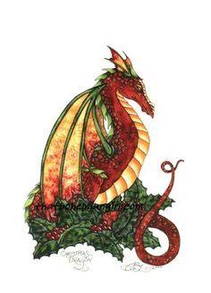 Amy Brown Christmas Dragon Print