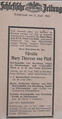 Maria Teresa Oliwia Hochberg von Pless – Wikipedia, wolna encyklopedia
