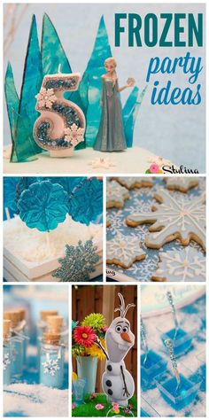 A Frozen girl birthday party in light blue and teal with glitter and snowflakes! See more party planning ideas at CatchMyParty.com!