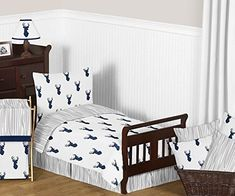 Striking stag and stylish wood grain prints give the Sweet Jojo Designs Woodland Deer Bedding a rustic charm perfect for a cozy bedroom. The unique, bold color scheme is classic navy, chic grey, and crisp white. Boys Bedding Sets, Comforter Sets, Deer Bedding, Boy Bedding, Baby Crib Diy, Baby Cribs, Baby Boy, Boys Bedroom Decor, Bedroom Bed
