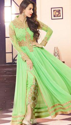 Fashionable Light Green Georgette Anarkali Suit, Dress