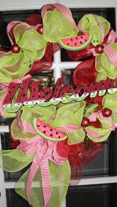 We love this adorable Watermelon Deco Mesh Wreath!  So cute for summer!