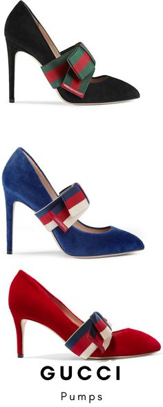 731a730e54b Gucci Suede pump with removable Web bow A point toe high-heel pump in suede