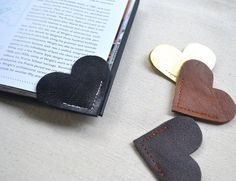 Two pieces of leather goes behind the making of this unique Leather Heart Bookmark.
