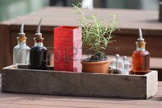 Vinegar olive oil salt and pepper on a restaurant table Stock Photo