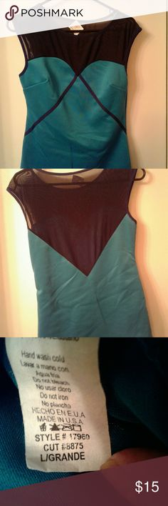 LAST ONE IN STOCK!!!! TEAL BLACK SHEER Sheer neckline and back says large fits 7/8 Tops Blouses