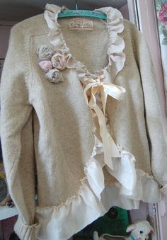 XL Altered Shetland Wool Oatmeal Sweater Shabby by OfLinenandLace, $55.00
