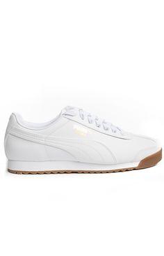 Puma, Roma Basic Shoe - White/Gum - Puma - MOOSE Limited White Puma Shoes, All White Sneakers, White Tennis Shoes, Pumas Shoes, Adidas Shoes, Puma Store, Platform Tennis Shoes, Minimalist Shoes, Minimalist Wardrobe
