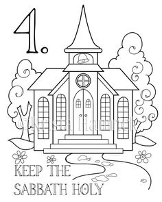 Original coloring pages on each of the 10 Commandments by