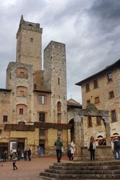 Just three of the fifteen medieval towers still standing in San Gimignano, Tuscany Medieval Tower, Still Standing, World Traveler, Towers, Travel Pictures, Tuscany, Travel Inspiration, Journey, San