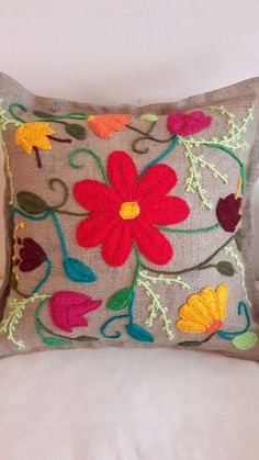 Marvelous Crewel Embroidery Long Short Soft Shading In Colors Ideas. Enchanting Crewel Embroidery Long Short Soft Shading In Colors Ideas. Cushion Embroidery, Hand Work Embroidery, Crewel Embroidery, Hand Embroidery Patterns, Embroidery Thread, Embroidery Designs, Bohemian Crafts, Mexican Rug, Mexican Embroidery