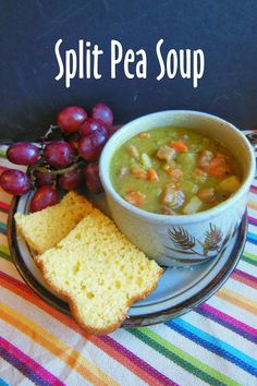 Kim's County Line: Hearty Split Pea Soup. I loved it & I'm not a split pea soup fan. I left it chunky (didn't blend it at all). Chili Recipes, Soup Recipes, Cooking Recipes, Healthy Recipes, Recipies, Healthy Soups, Cooking Time, Ham And Potato Soup, Bacon Soup
