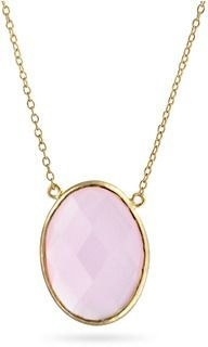 Bling Jewelry Simulated Chalcedony Pink Glass Pendant Gold Plated Necklace 16 Inches.