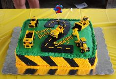 Construction themed 2nd Birthday cake for my son. Iced all in buttercream.