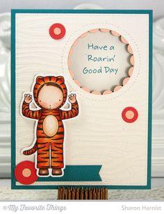 Roarin' Good Day stamp set and Die-namics, Blueprints 21 Die-namics, Peek-a-Boo Circle Windows Die-namics, Zebra Stencil - Sharon Harnist #mftstamps