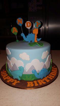 1st birthday cake #dinosaur #one #birthday #fondant #1st