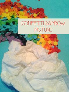 A simple craft to create a confetti rainbow picture perfect for preschoolers and kindergarten children to make for Spring or St Patrick's Day.