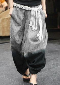 Lantern pants/  linen trousers /Irregular pants by warmhomeland, $56.88