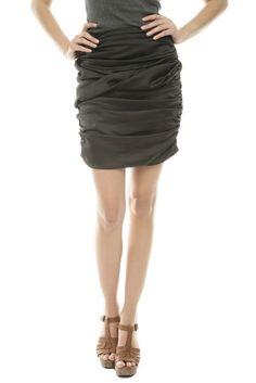 Black Satin Skirt.