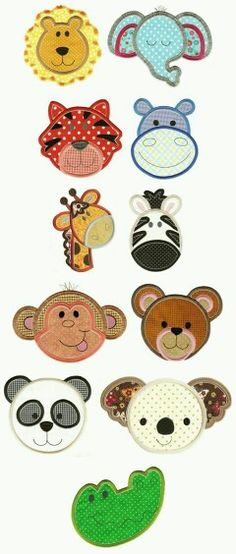 Cute Animal Faces Applique Set 2 by elinor Applique Templates, Applique Embroidery Designs, Machine Embroidery Applique, Applique Patterns, Hand Embroidery, Quilt Patterns, Owl Templates, Sewing Crafts, Sewing Projects