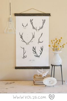Antler Study Vol.2 - large wall hanging, wood trim and printed on textured cotton canvas. Vintage Science Posters