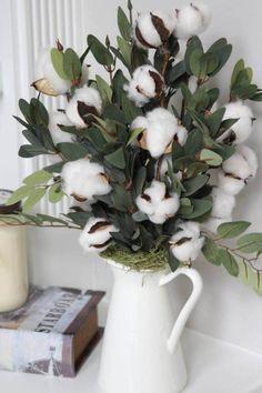 Rustic Farmhouse Decor Cotton Boll Stems Cotton Arrangement