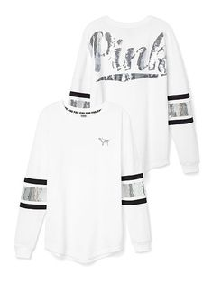 Varsity Crew white and gold - PINK - Victoria's Secret Victoria Secret Outfits, Victoria Secret Rosa, Victorias Secret Clothes, Pink Outfits, Fall Outfits, Casual Outfits, Cute Outfits, Vs Pink Outfit, Pink Nation