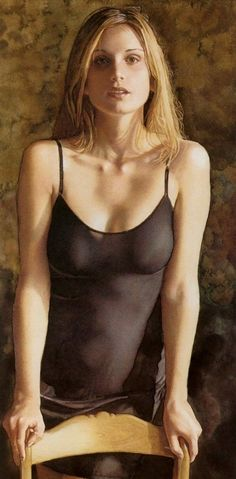 Pintura hiper-realista de mulher de Steve Hanks