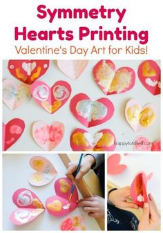 Simple Symmetry Printing Activty for Valentine's Day. Let the children explore the beauty of symmetry though a fun art project! Educational Activities For Toddlers, Craft Activities, Winter Activities, Preschool Themes, Cool Art Projects, Projects For Kids, Crafts For Kids, Kids Diy, Valentines Day Activities