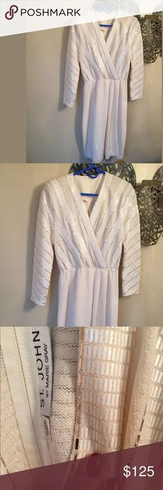 St. John Marie gray wrap sequin dress Beautiful vintage cream dress with gold embroidered sequence like new. With Back zipper size 8 St. John Dresses