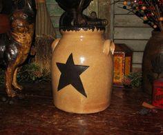 Primitive Antique Vtg Style Star Churn Stoneware Jar Wax Sealer Crock #NaivePrimitive