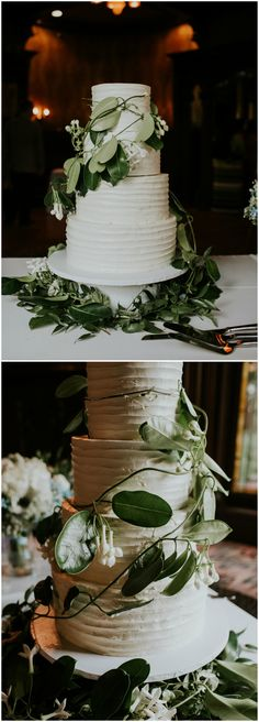 Natural wedding cake, loose leaves, thick white frosting // Rachel Wakefield Photography