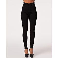 Dr Denim Solitare Leggings (435 SEK) ❤ liked on Polyvore featuring pants, leggings, jeans, dr denim, black, bottoms, cotton leggings, high-rise leggings, high waisted leggings and stretch jean leggings