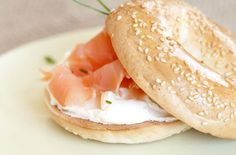 smoke salmon with low fat cream cheese on a sesame seed bagel