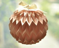 Hanging decorative folded paper bubble ball  mini PINK by tyART, $20.00