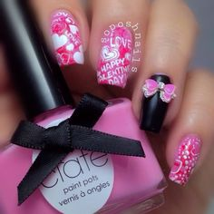 Valentine heart and bow nail art