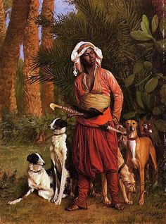 The Negro Master of the Hounds, Jean-Leon Gerome (artist).  The inspiration for Cael the Wolf.