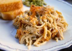 Cheesy Chicken Spaghetti Casserole | Plain Chicken - I'd probably use a milder cheddar and omit the cayenne.