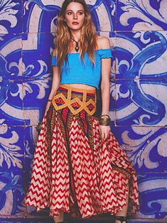 Free People Maracana Silk Skirt