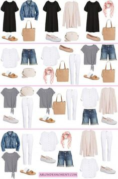 12 outfits in a carry-on travel style travel capsule, travel Capsule Outfits, Fashion Capsule, Mode Outfits, Fashion Outfits, Capsule Wardrobe Summer, Vacation Wardrobe, Holiday Wardrobe, Womens Fashion, Travel Wardrobe Summer