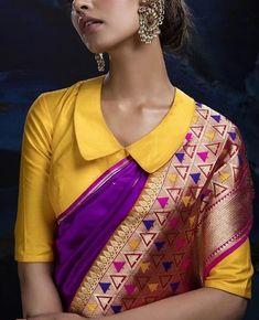 Lehenga Saree Design, Pattu Saree Blouse Designs, Blouse Designs High Neck, Fancy Blouse Designs, Ikkat Dresses, Long Dress Design, Blouse Outfit, Work Blouse, Sarees