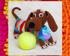Amigurumi Wiener Dog Pattern : Dachshund dog pdf amigurumi crochet pattern via etsy so