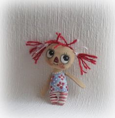 Raggedy Anne hand painted cloth doll by suziehayward on Etsy, $39.00