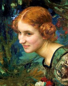 Edgar Maxence (1871 -1954) French Symbolist painter. He was taught by Elie Delaunay and Gustave Moreau at the École des Beaux-Arts in Paris. He exhibited in the Salon des Artistes Français from 1894 until 1939, and was active on the salon's committees and juries. Maxence combined highly trained technique with a taste for medieval and mythical subjects, and hermetic imagery, and he exhibited at the Salon de la Rose+Croix from 1895 to 1897.