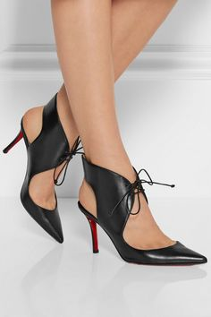 Christian Louboutin | Franca 85 cutout leather pumps | NET-A-PORTER.COM